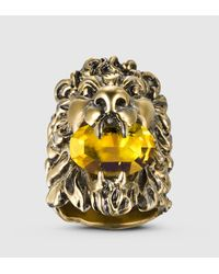 Gucci - Metallic Lion Head Ring With Crystal - Lyst
