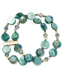 Jones New York | Gold-tone Green Mixed Bead Two-row Stretch Bracelet | Lyst