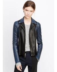 Vince | Black Colorblocked Leather Moto Jacket | Lyst