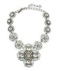 Oscar de la Renta | Metallic Crystal Statement Necklace | Lyst