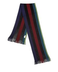 Paul Smith - Black Striped Knit Wool Scarf for Men - Lyst