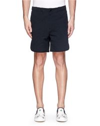 Maison Kitsuné - Blue Stripe Cotton Seersucker Shorts for Men - Lyst