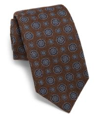 Isaia - Brown Circle Silk Tie for Men - Lyst
