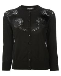Dolce & Gabbana - Black Lace Panel Cardigan - Lyst