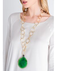 Amanda Wakeley | Metallic Malawi Emerald Agate Necklace | Lyst