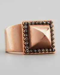 Rebecca Minkoff - Brown Rose Golden Pave Pyramid Stud Ring - Lyst