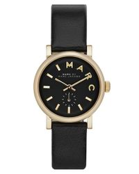 Marc Jacobs - Metallic 'baker' Round Leather Strap Watch - Lyst