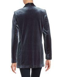 Calvin Klein   Gray Velvet Open-front Jacket   Lyst