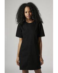 TOPSHOP - Black Moto Denim T-Shirt Dress - Lyst