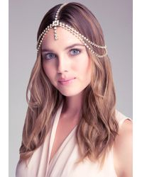 Bebe - Metallic Crystal Draped Head Chain - Lyst