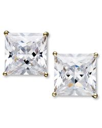 Arabella | Metallic Swarovski Zirconia Princess Cut Stud Earrings (9-3/4 Ct. T.w.) | Lyst