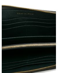 Tory Burch - Green Logo Plaque Wallet - Lyst