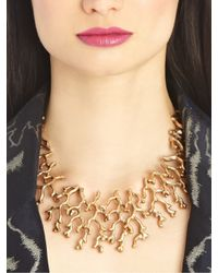 Oscar de la Renta - Metallic Russian Gold Coral Branch Necklace - Lyst