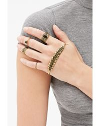 Forever 21 - Metallic Feather Palm Cuff & Ring Set - Lyst