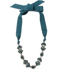 Lanvin - Green Crystal Ribbon Necklace - Lyst