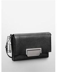 Calvin Klein - Black White Label Kelsey Pebbled Leather City Flap Shoulder Bag - Lyst
