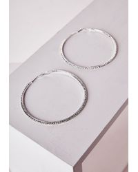 Missguided | Metallic Oversized Diamante Hoop Earrings Silver | Lyst