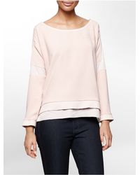 Calvin Klein | Pink Jeans Textured Block Woven Sweatshirt | Lyst