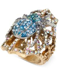 Betsey Johnson | Metallic Two-tone Crystal Spider Ring | Lyst