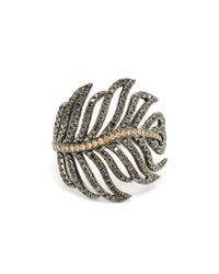 Rosa De La Cruz   Black 18k Gold And Diamond Feather Ring   Lyst