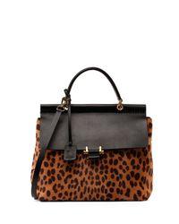 Lanvin - Black Leopard Calf Hair Flap Bag - Lyst