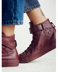 Free People - Purple Mono Leather Hi Top Chuck - Lyst