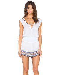 Shoshanna | White Lace Up Smocked Dress | Lyst
