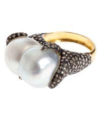 Samira 13 - White Diamond Encrusted Pearl Ring - Lyst