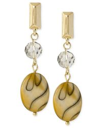 Kenneth Cole | Metallic Gold-tone Shell Bead Drop Earrings | Lyst