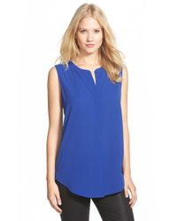 Gibson | Blue Sleeveless High/low Top | Lyst