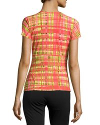 Natori - Pink Habi Wrap-twist Plaid Top - Lyst