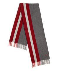 Bally - Gray Striped Fringe Trim Wool Scarf for Men - Lyst