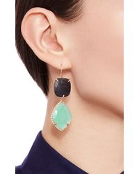 Lizzie Mandler - Green One Of A Kind Chrysoprase & Onyx White Diamond Halo Earrings - Lyst