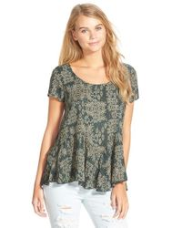 Mimi Chica | Blue Distressed Paisley Print Peplum Top | Lyst