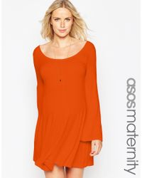 ASOS - Brown Maternity Skater Dress With Scoop Neck And Flared Sleeves - Lyst
