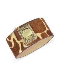 The Sak - Brown Goldtone Turnlock Giraffe Dyed Haircalf Bracelet - Lyst
