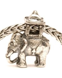 Trollbeads - Gray Indian Elephant Silver Charm Bead - Lyst