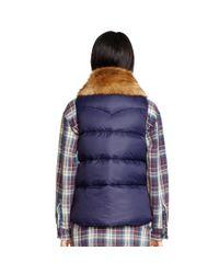 Denim & Supply Ralph Lauren - Blue Faux-fur-trim Down Vest - Lyst