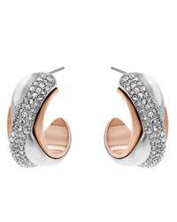 Swarovski - Pink Wave Pierced Earrings - Lyst