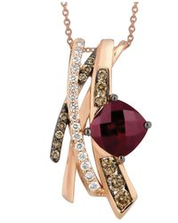 Le Vian | Red Raspberry Rhodolite Garnet (2-3/4 Ct. T.w.) And White And Chocolate Diamond (5/8 Ct. T.w.) Pendant In 14k Rose Gold | Lyst