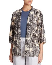424 Fifth | Blue Printed Kimono Top | Lyst