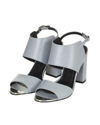 TOPSHOP - Gray Raff Metal Toe Sandals - Lyst