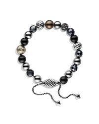 David Yurman - Metallic Spiritual Beads Bracelet with Black Tahitian Pearls and Diamonds - Lyst