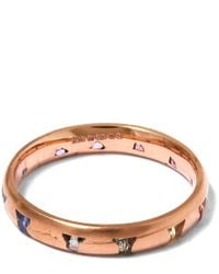 Polly Wales | Metallic Rose Gold Princess Cut Sapphire Ring | Lyst