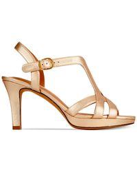 Clarks - Pink Artisan Women's Delsie Risa Platform Evening Sandals - Lyst