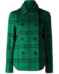 Tibi - Green Plaid Hood Coat - Lyst