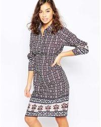 Diya - Blue Shirt Dress In Kaleidoscope Print - Burgandy/ Navy - Lyst
