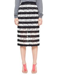 Burberry Prorsum - Black Striped Curlicue Embroidered Lace Midi Skirt - Lyst