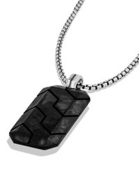 David Yurman | Black Forged Carbon Tag Necklace for Men | Lyst