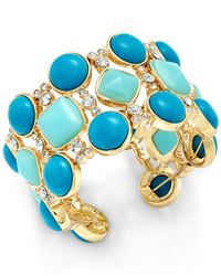 ABS By Allen Schwartz | Gold-tone Blue And Aqua Multicolored Cuff Bracelet | Lyst